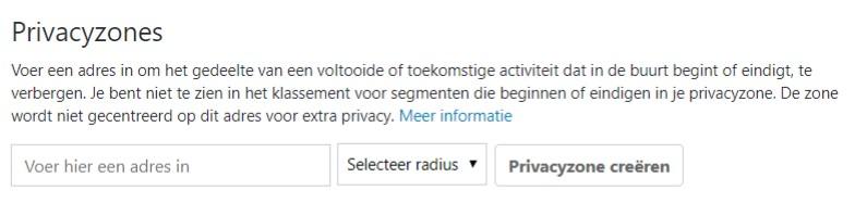 privacy instellen op strava