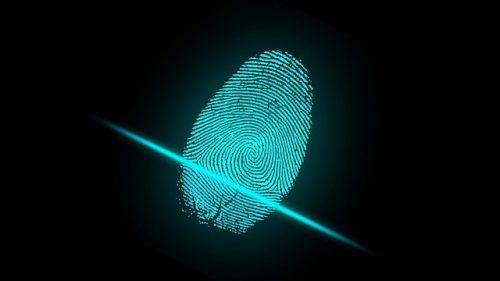 vingerafdruk scanner, online criminaliteit. Beveiliging na de coronacrisis